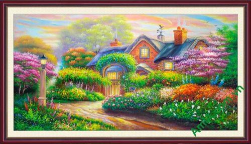 Hinh anh tranh ve son dau ngoi nha hoa tuyet dep