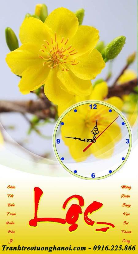 Hinh anh tranh treo lich tet hoa mai vang