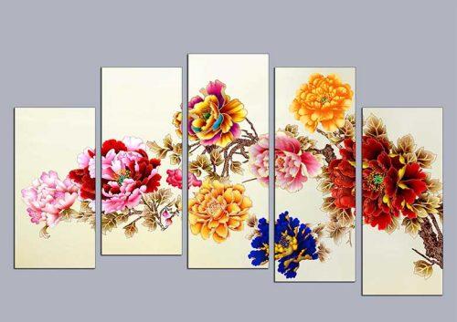 Tranh hoa mau don ghep bo 5 tam