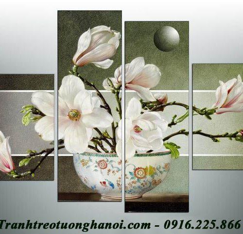 Hinh anh tranh hoa moc lan treo tuong phong khach