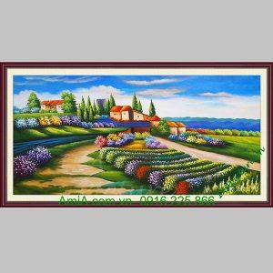 Tranh sơn dầu phong cảnh cánh đồng hoa
