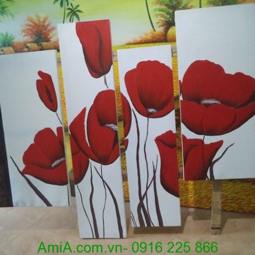 tranh hoa poppy ve son dau