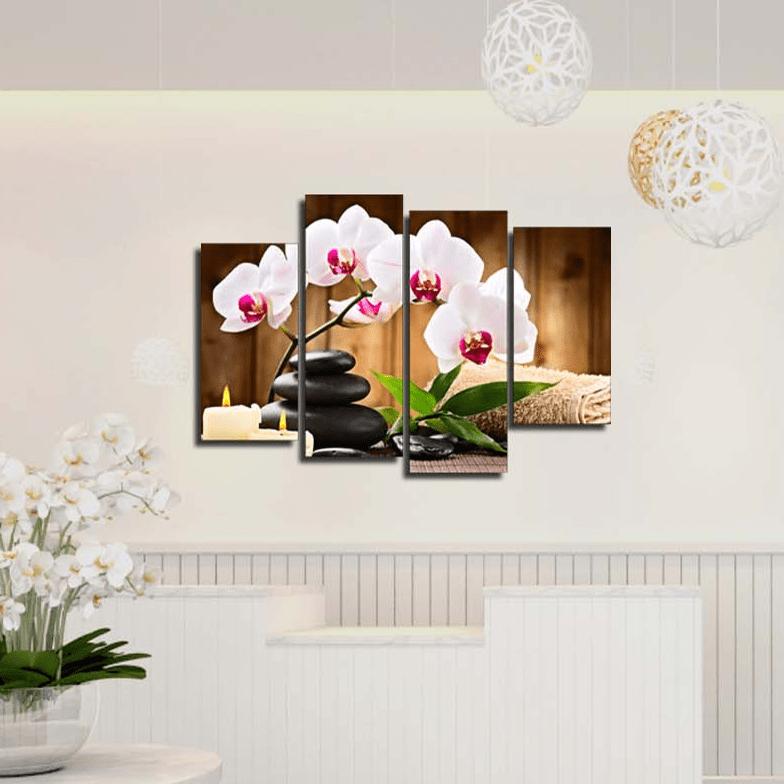Hinh anh tranh spa hoa phong lan ghep bo 4 tam
