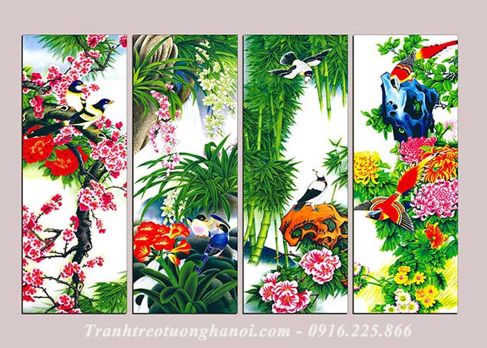 Qua tang tranh treo tuong tranh tu quy bon mua thuoc hanh Moc theo phong thuy