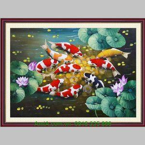Tranh sơn dầu cá chép khổ nhỏ