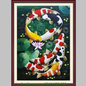 Tranh sơn dầu cá chép khổ dọc