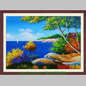 Tranh sơn dầu phong cảnh biển xanh