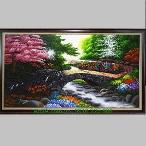 Tranh sơn dầu phong cảnh cây cầu đá