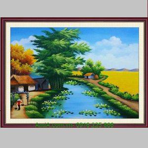 Tranh phong cảnh làng quê sơn dầu