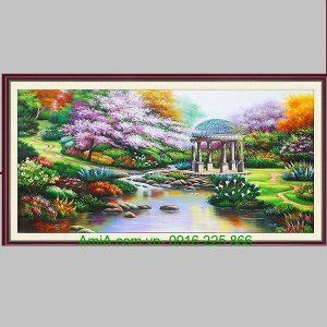 Tranh sơn dầu phong cảnh vườn thượng uyển