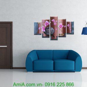 tranh treo phong khach hoa sen