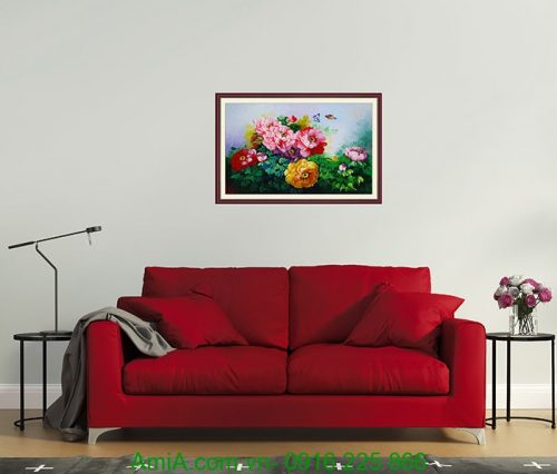 tranh treo trang tri hoa mau don