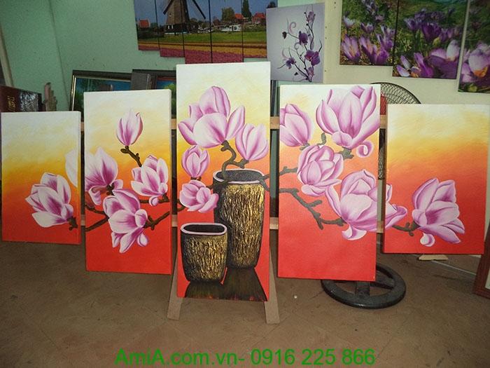 tranh son dau hoa moc lan