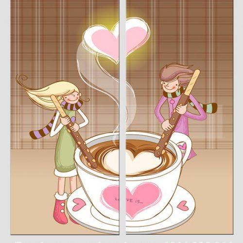 Hinh anh tranh cafe tình yeu trang trí quan cafe phong an nha hang