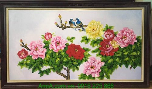 tranh hoa mau don son dau