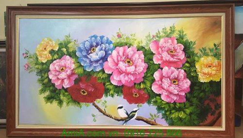 tranh phong thuy hoa mau do