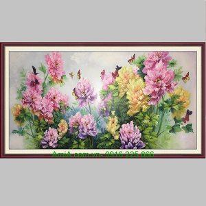 Tranh hoa mẫu đơn vẽ sơn dầu