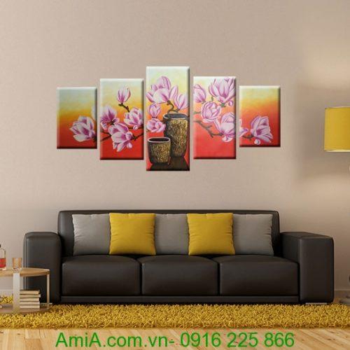 tranh ghep bo hoa moc lan