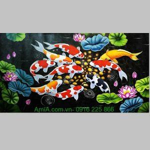 Tranh sơn dầu phong thủy cá chép