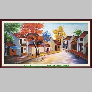 Tranh sơn dầu phố xưa Hà Nội