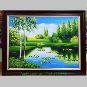 Tranh phong cảnh sơn dầu thiên nhiên cây xanh