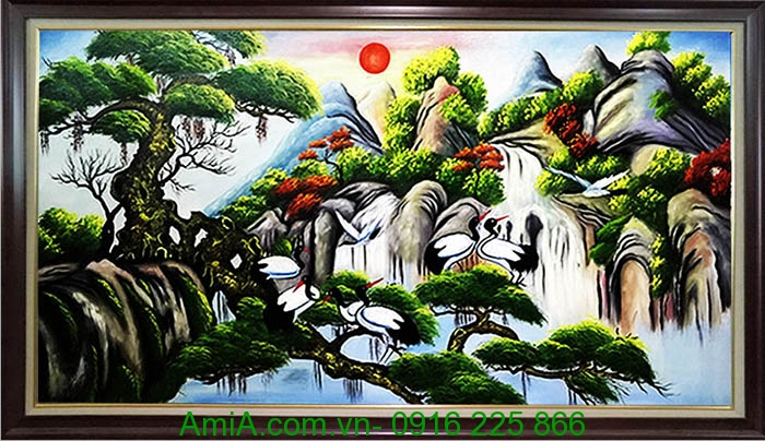 Buc tranh ve phong canh phong thuy tung hac dien nien lam qua tang