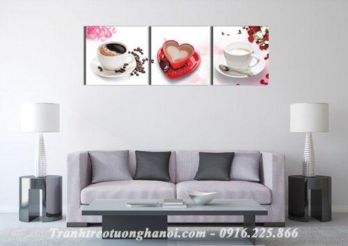 Hinh anh bo tranh ba tach cafe dep hop trang tri quan cafe