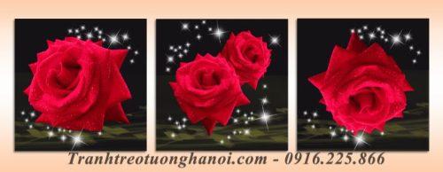 Hinh anh tranh ghep bo treo phong ngu hoa hong AmiA