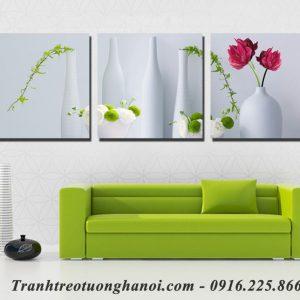 Tranh ghép bộ treo tường bình hoa 3 tấm AmiA 1154