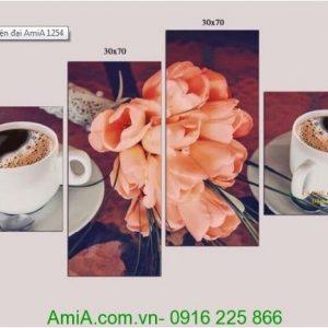 Tranh ẩm thực cafe hoa lá treo tường Amia 1254
