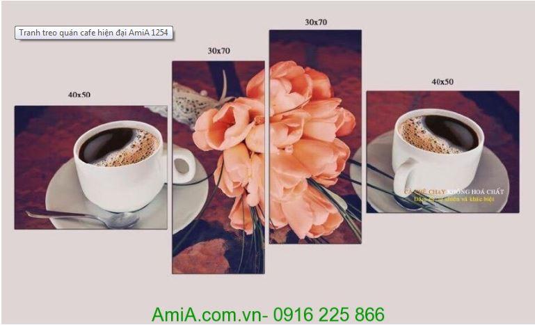 Tranh am thuc cafe va hoa tulip hong Amia 1254