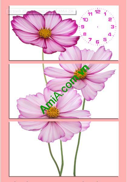 Tranh treo tuong dong ho va hoa xinh amia 234
