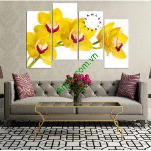 Bộ tranh đồng hồ ghép nghệ thuật: Hoa Lan Vàng - AmiA 180