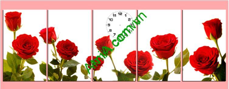 Tranh dong ho treo tuong hoa hong do lang man Amia 215