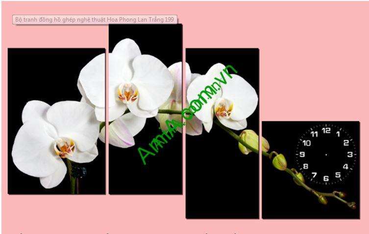 Bo tranh dong ho ghep hoa lan trang Amia 199