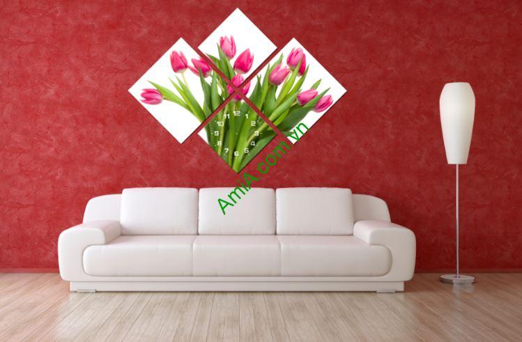 Tranh treo tuong dong ho ghep hoa tulip xinh Amia 216