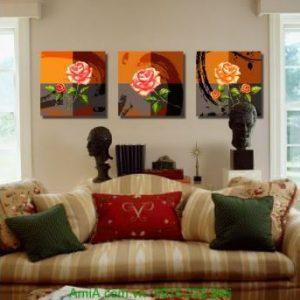 Tranh ghép ba tấm hoa hồng cổ điển treo tường Amia 1233