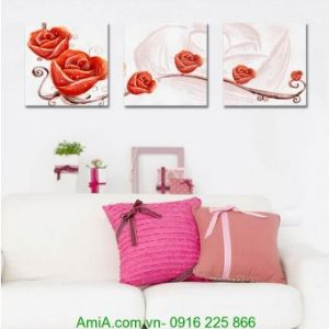 Tranh ghép ba tấm hoa hồng nghệ thuật treo phòng Amia 1234