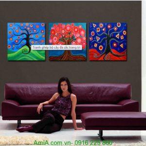 Tranh ghép bộ ba tấm cây đa sắc màu trang trí phòng Amia 1248