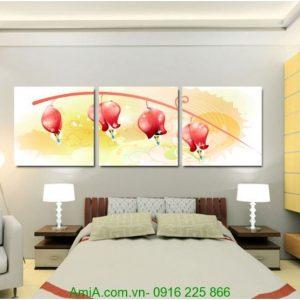 Tranh ghép bộ ba tấm hoa chuông nghệ thuật treo tường Amia 1236