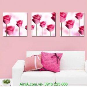 Tranh ghép bộ ba tấm hoa hồng tình yêu Amia 1242