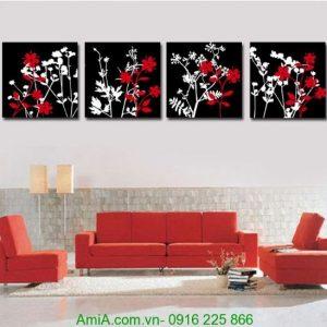 Tranh ghép bốn tấm hoa đỏ đen ấn tượng Amia 1247