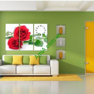 Tranh đồng hồ treo tường ghép: Hoa Hồng đỏ (AmiA 183)