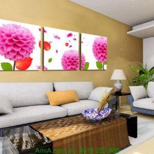 Tranh hoa cúc thược dược treo phòng khách Amia 1237