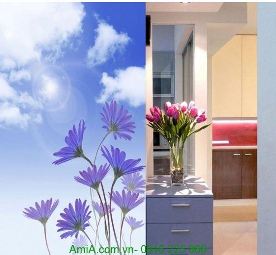 Tranh treo tuong hoa cuc va tulip trong som mai Amia 1252