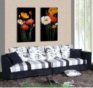 Tranh ghép bộ hai tấm hoa lá nghệ thuật treo phòng Amia 1250