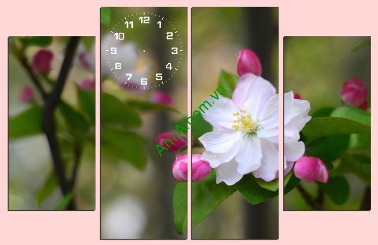 Tranh treo tuong dong ho hoa mai trang Amia 213