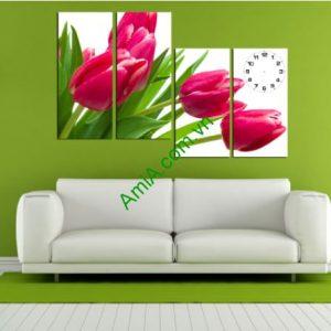 tranh hoa tulip ghep dong ho