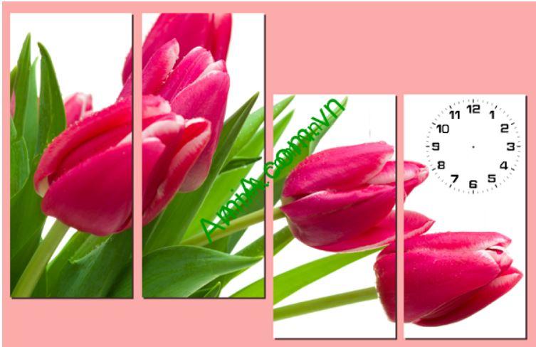 Tranh dong ho ghep go hoa tulip Amia 206