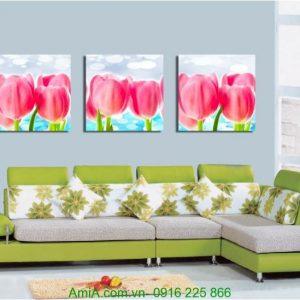 Tranh ghép bộ ba tấm hoa tulip Amia 1222